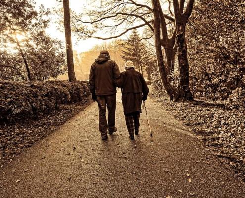 Paar spaziert durch Wald